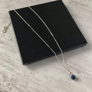 Silver and Blue Swarovski Pearl Drop Necklace - KookyTwo