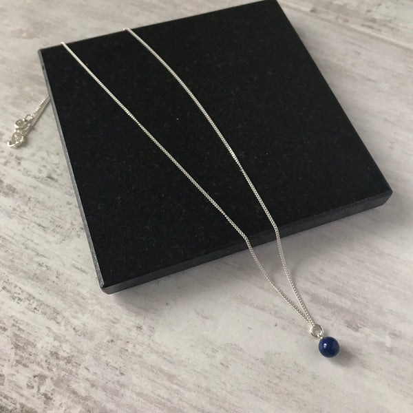 Silver and Blue Swarovski Pearl Drop Necklace