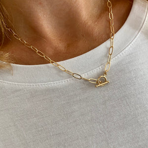 Gold T Bar Necklace
