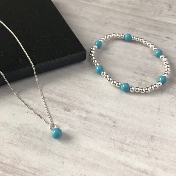 Silver and Turquoise Swarovski Pearl Drop Necklace - KookyTwo