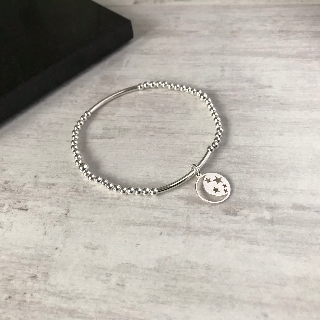 Silver Moon and Star Bracelet - KookyTwo