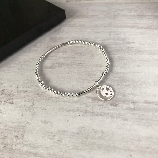 Silver Moon and Star Bracelet