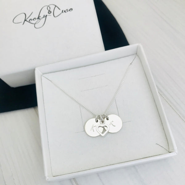 Silver Heart and Two Initial Disc Necklace - KookyTwo