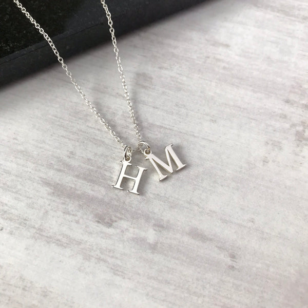 Silver Double Initial Charm Necklace