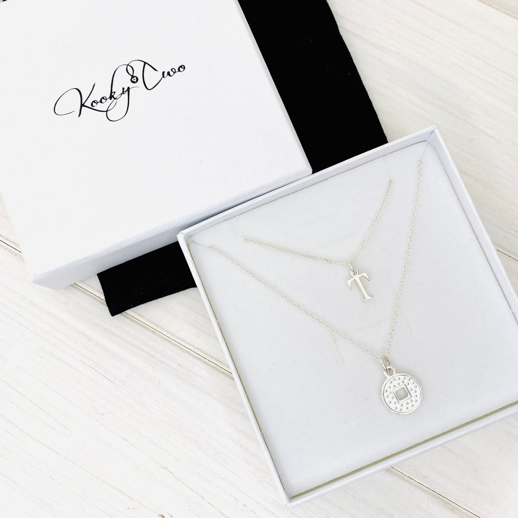 Silver Initial Coin Necklace Set - KookyTwo
