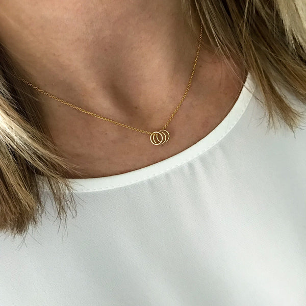 Gold Three Rings Necklace
