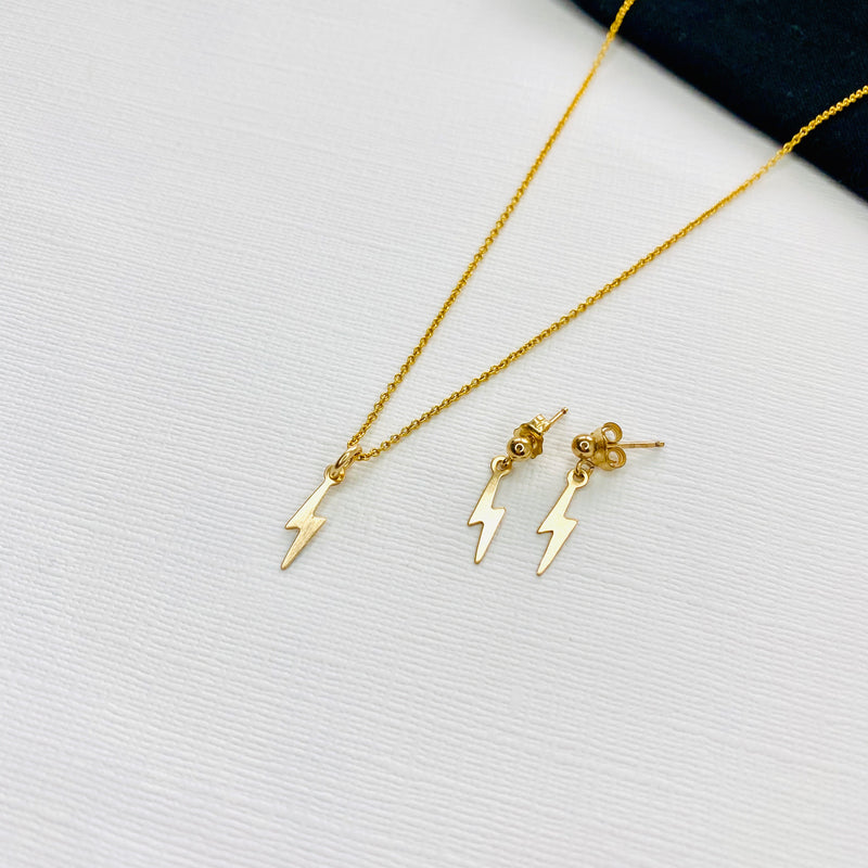 Gold Lightning Bolt Necklace & Earring Set - KookyTwo