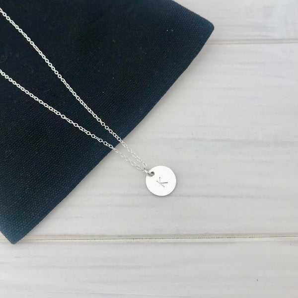 Silver Initial Disc Necklace - KookyTwo