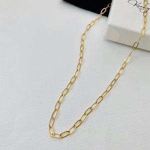 Gold Rectangle Link Necklace