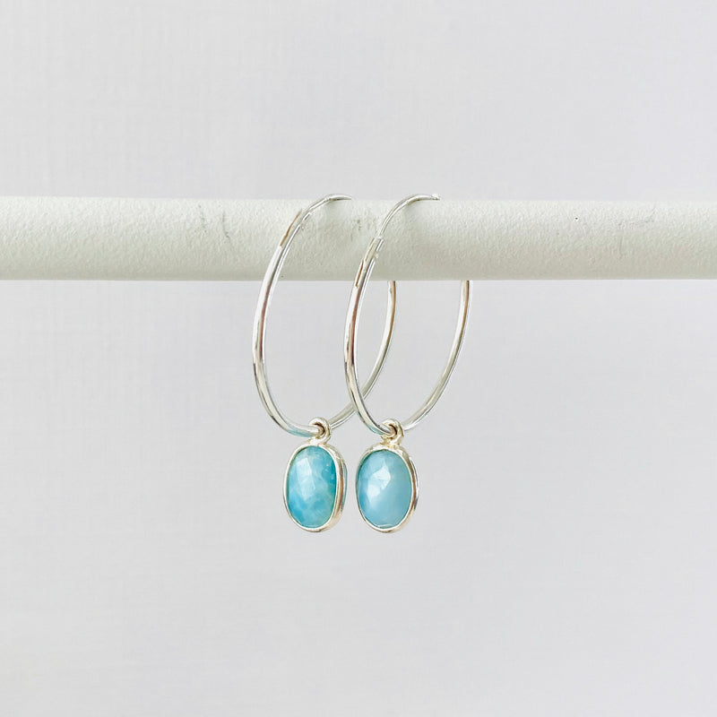 Silver Larimar Hoop Earrings - KookyTwo
