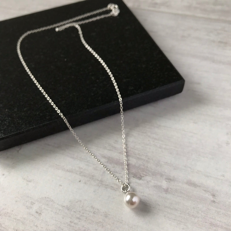 Silver and Swarovski Pearl Drop Necklace - KookyTwo