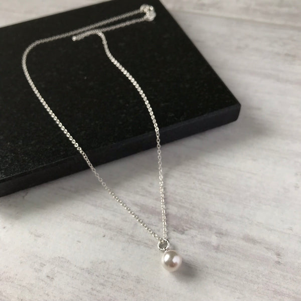 Silver and Swarovski Pearl Drop Necklace