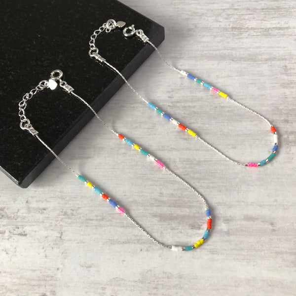 Silver and Multi-Colour Bead Anklet