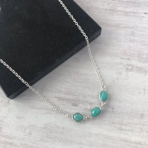 Silver Triple Amazonite Gemstone Necklace - KookyTwo