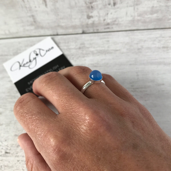 Blue Onyx Round Gemstone Ring - KookyTwo