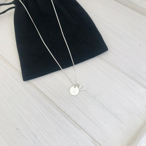 Silver Initial Disc and Heart Necklace - KookyTwo