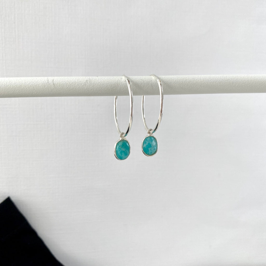 Silver Amazonite Hoop Earrings - KookyTwo