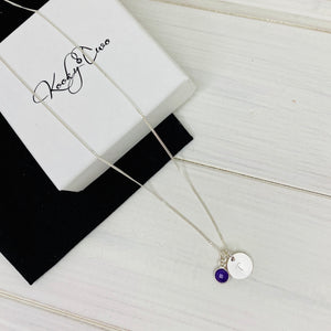 Personalised Initial Disc Birthstone Necklace - KookyTwo