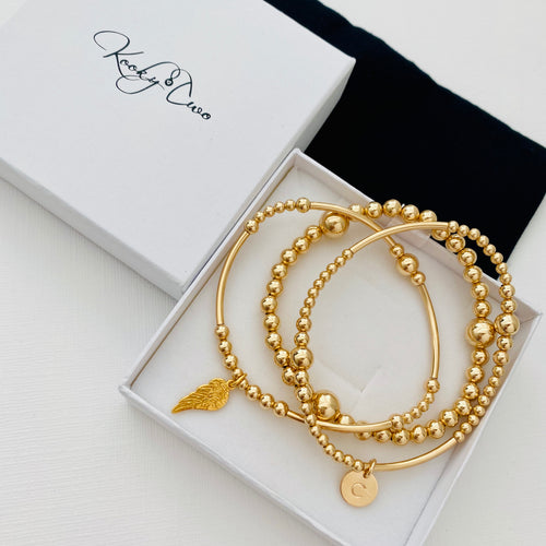 Gold Personalised Angel Wing Bracelet Stack