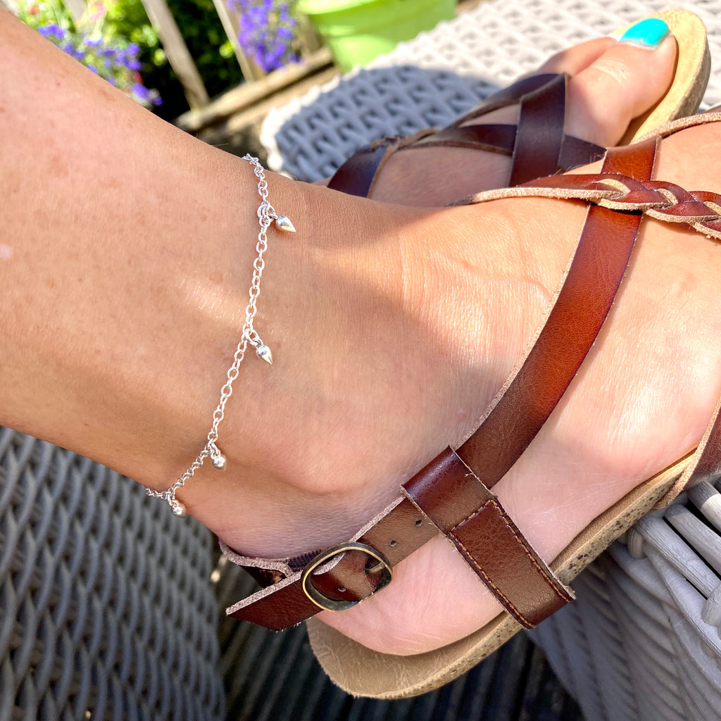 Silver Drop Anklet - KookyTwo