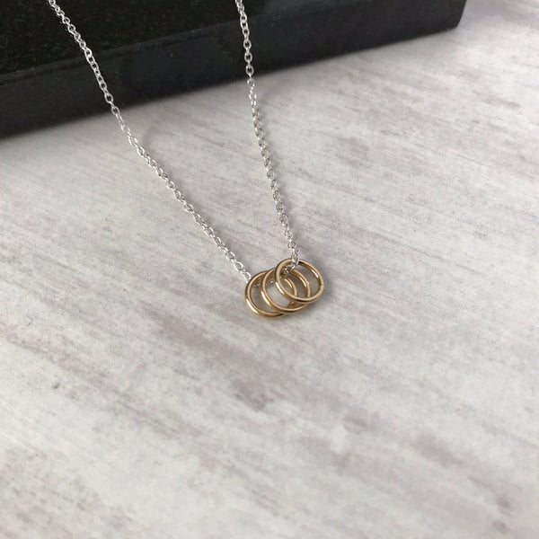 Silver Three Gold Rings Necklace