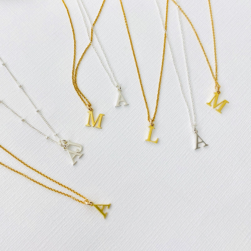 """The Clare"" Gold Initial & Star Necklace Set"