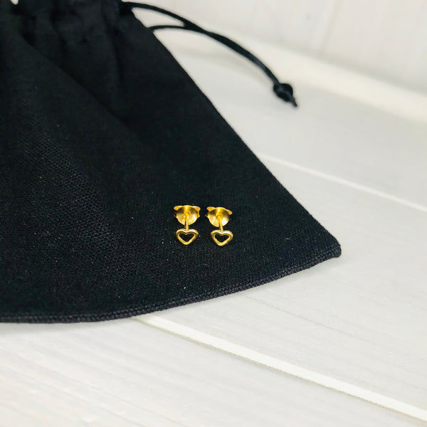 Gold Tiny Open Heart Stud Earrings - KookyTwo