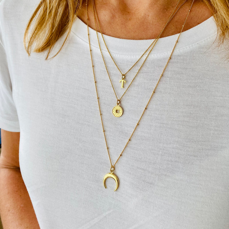 Gold Initial Crescent Moon Necklace Set