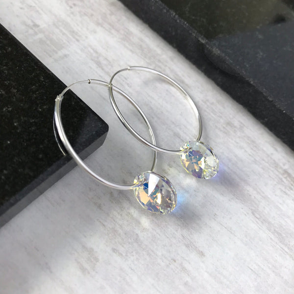 f3acdea5f Silver Hoop Earrings with Aurore Boreale Swarovski Crystal - KookyTwo