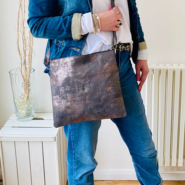 Leather Crossbody Bag in Pewter - KookyTwo