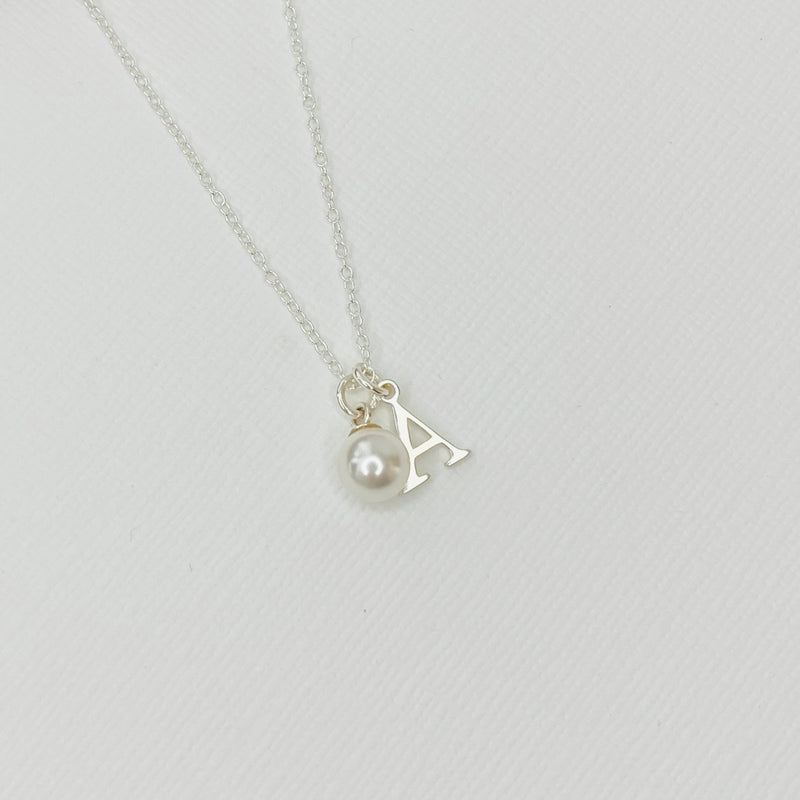 Silver Initial Necklace with Swarovski Pearl - KookyTwo