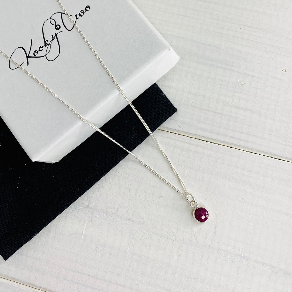 Sterling Silver Birthstone Necklace - KookyTwo