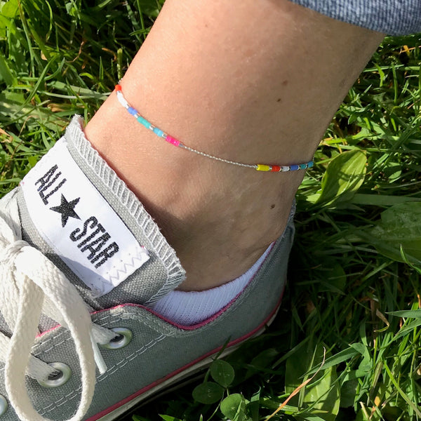 Silver Multi-Colour Bead Anklet - KookyTwo