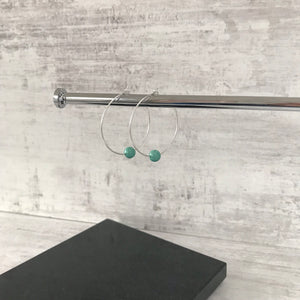 Silver Jade Swarovski Pearl Hoop Earrings - KookyTwo