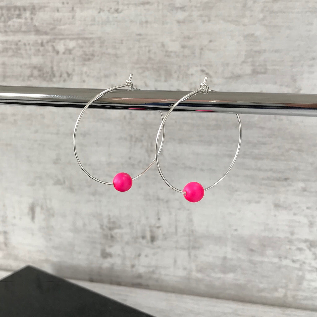 Silver Neon Pink Swarovski Pearl Hoop Earrings - KookyTwo