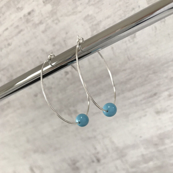 Silver Turquoise Swarovski Pearl Hoop Earrings - KookyTwo