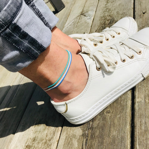 Silver Colourblock Anklet - KookyTwo