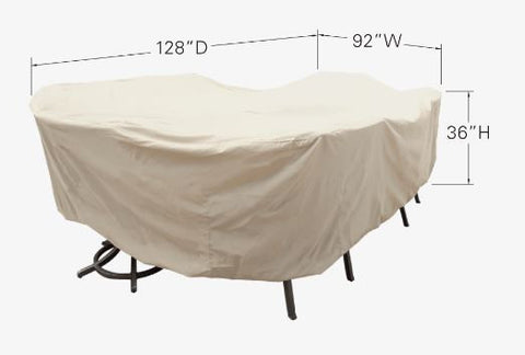 "Patio Furniture Cover - Extra Large Oval Table & Chairs (92""W x 128""D x 36""H)"