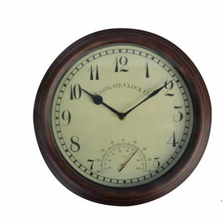 "12"" Outdoor Clock with Thermometer"