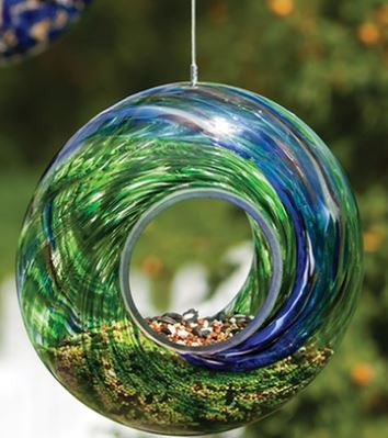 Evergreen Glass Bird Feeder - Green