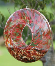Evergreen Glass Bird Feeder - Red