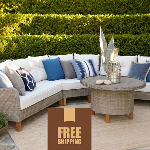 Sorrento 4-Piece Contemporary Outdoor Curved Sectional Set