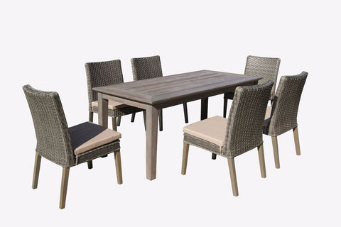 Winchester 7-Piece Wood and Wicker Dining Set