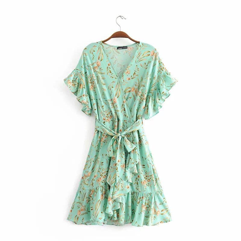 KIKI Floral Wrap Belted Dress