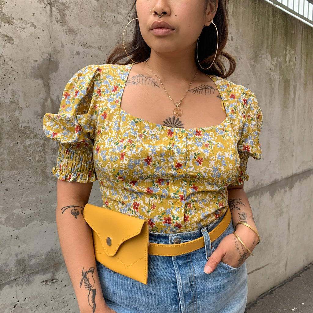 PEGGY Puff Sleeve Floral Top