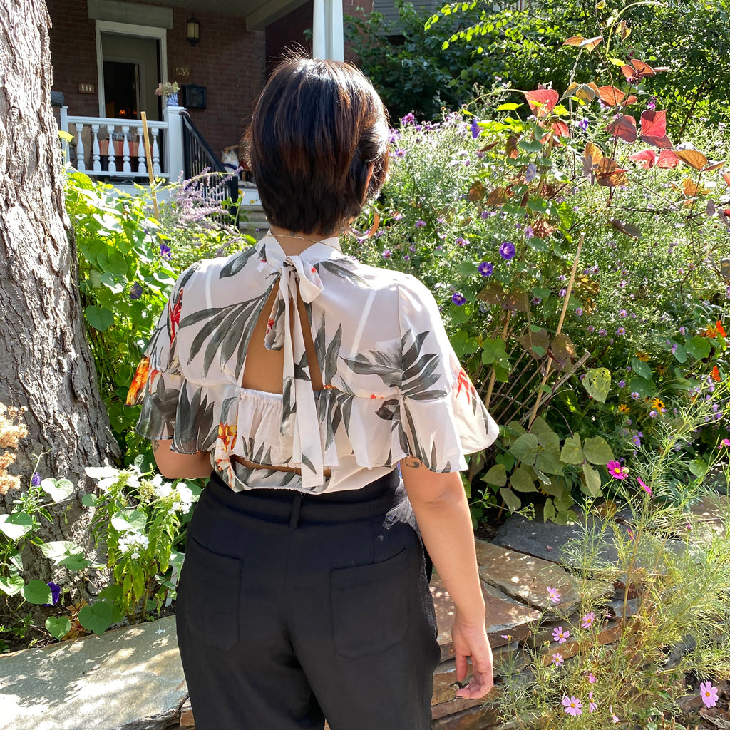ALLETE Neck Tie Floral Top