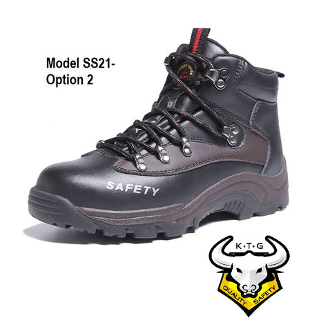 KTG Safety Steel Toe Steel Plate High Cut Zipper Safety Boots Safety Shoes Model SS21