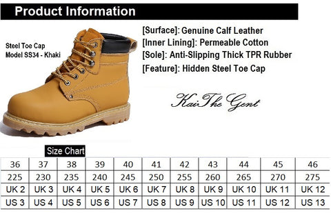 Kaithegent Model SS34 Steel Toe Safety Boots Khaki Color Shoe Size Conversion Chart, UK, US, Singapore and EUROPE size