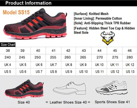 KTG (KaiTheGent) steel toe safety shoes model SS15 option 1 size recommendations. EU, UK, US, Singapore and Japan sizes.