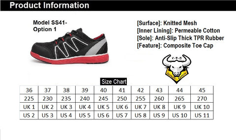 KTG Safety Model SS41 - Red Black Composite Toe Safety Shoes Shoe Size Conversion Chart, UK, US, Singapore and EUROPE size